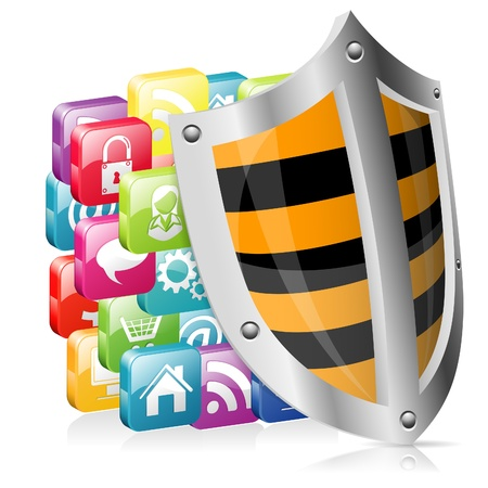 Business concept - Shield Protects Application Icons Vector
