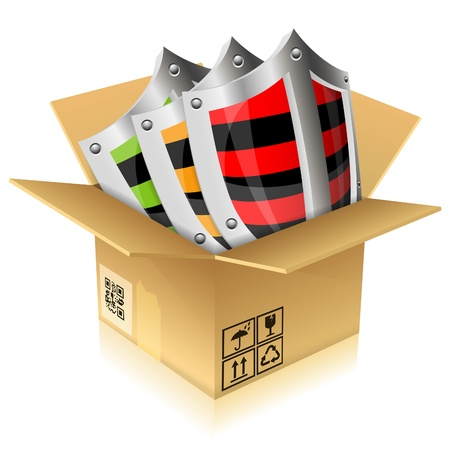 Open Cardboard Box with Shield Safety, vector illustration