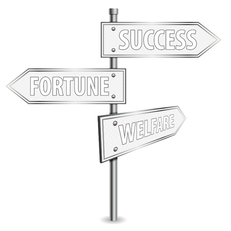 welfare: Pole with Success Road Signs, vector illustration