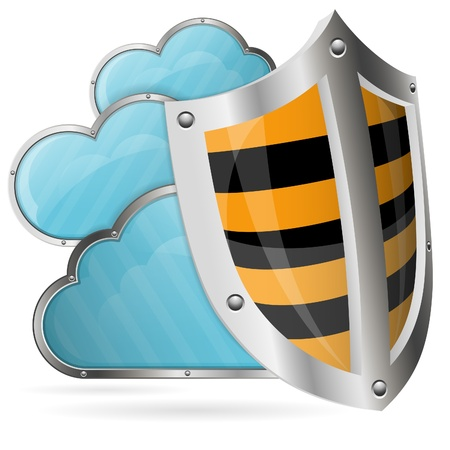 computer security: Business concept - Shield protects Clouds, vector illustration Illustration
