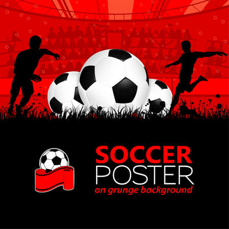 soccer grass: Soccer Poster with Players and Fans on grunge background, element for design, vector illustration Illustration