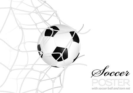 soccerball: Soccer Concept - Goal. Soccer Ball in Net Torn, vector illustration Illustration
