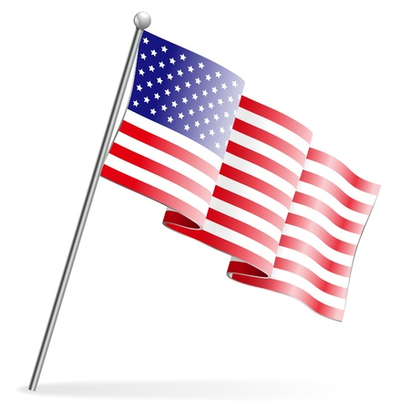 American Flag, isolated on white Vector