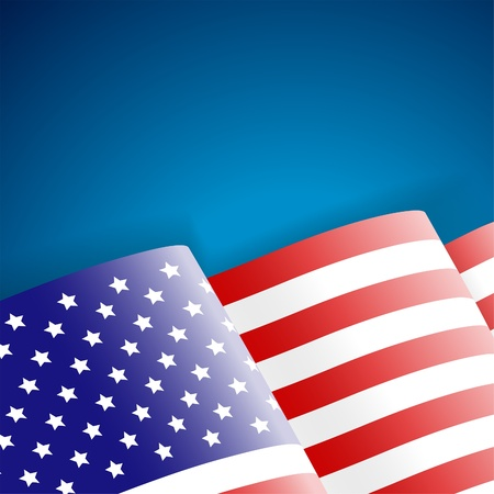 American Flag on blue background Vector