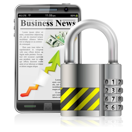 protects: Business concept - Padlock protects Smart Phone