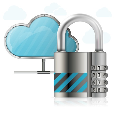 protects: Business concept - Padlock protects Cloud
