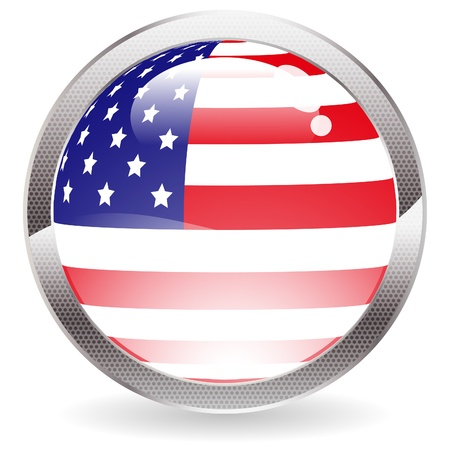 Three Dimensional circle button with American Flag Vector