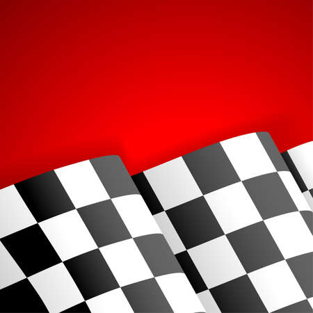 checker flag: Concept - Winner. Racing Checkered Flag Finish on red background, vector