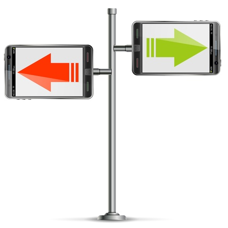 telephone pole: Pole with Smartphone and Arrows Illustration