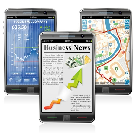 Collect Smartphones with Stock Market Application, Business News and GPS Navigation Vector