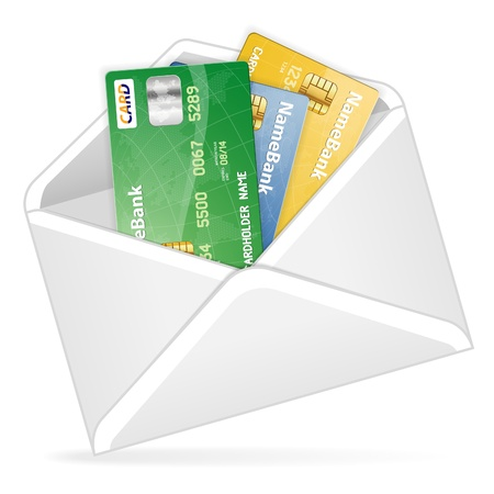 Open the Envelope with various Credit Cards, vector illustration Stock Vector - 15181920