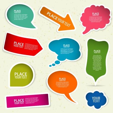 tweet icon: Conjunto de burbujas de expresi�n y pensamiento, elemento para el dise�o, ilustraci�n vectorial Vectores