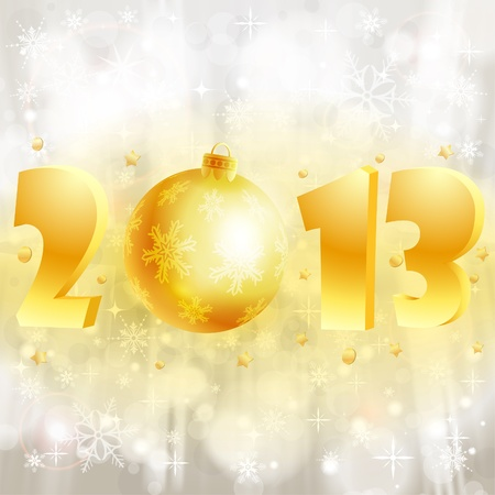 New Year background with stylized 2013 with Bauble, element for design, vector illustration Stock Vector - 14937313