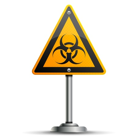 Pole with a Warning Road Sign with Biohazard, isolated on white background, vector illustration Stock Vector - 14937293