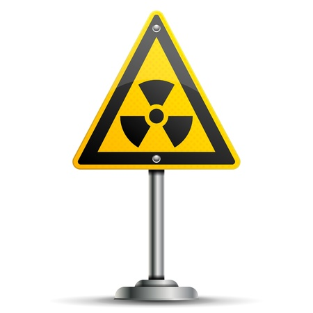 radioactive: Pole with a Warning Road Sign with Radiation, isolated on white background, vector illustration