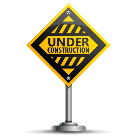 Pole with a Warning Road Sign Under Construction, isolated on white background, vector illustration Vector