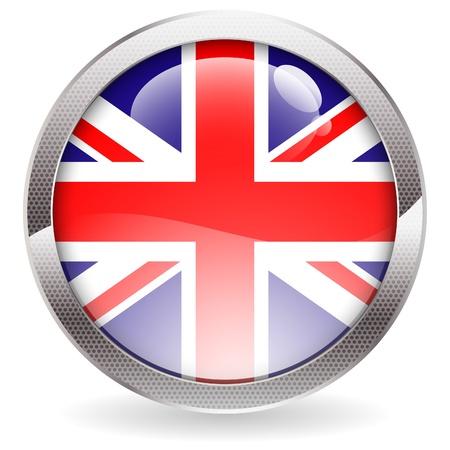 eu flag: Three Dimensional circle button with British Flag, vector illustration Illustration