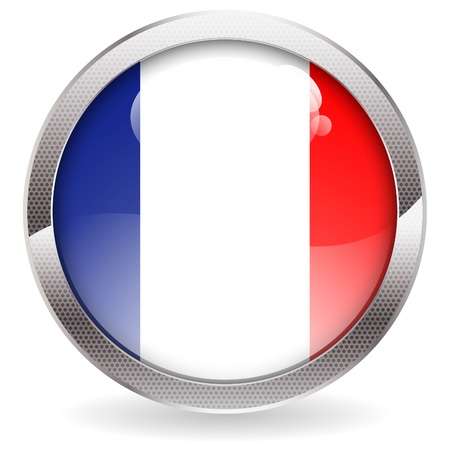 flag french icon: Three Dimensional circle button with French Flag, vector illustration