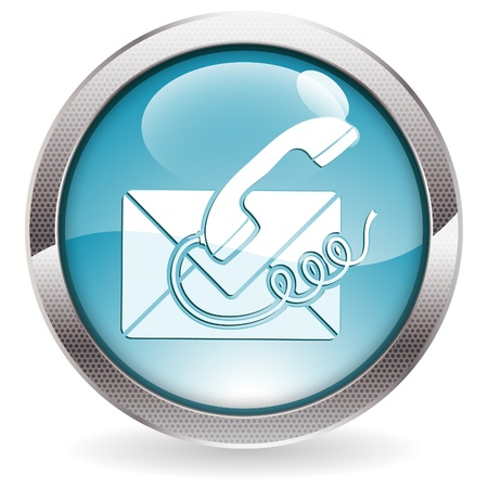 contact us: Circle Button with Telephone and Envelope Icon Contact Us, vector illustration