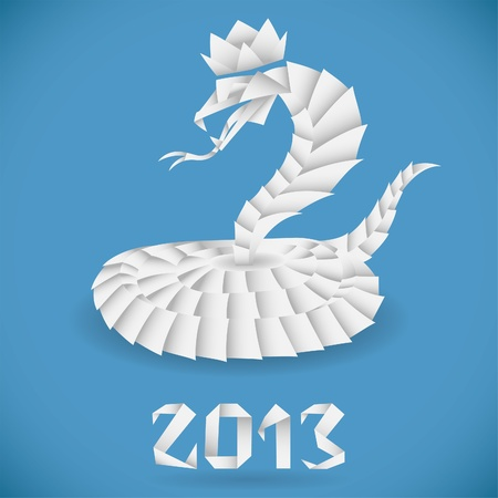 snake origami: Paper Origami Snake with 2013 Year, element for design Illustration