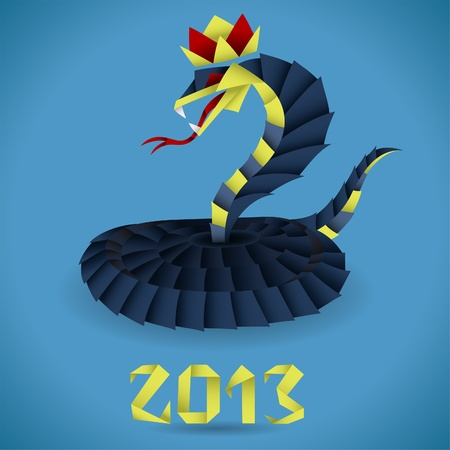 snake origami: Colorful Paper Origami Snake with 2013 Year, element for design Illustration