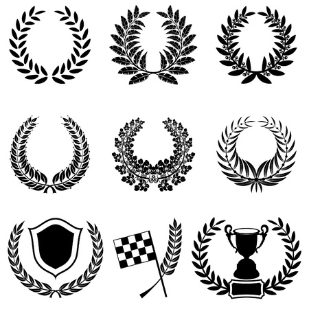 Set of Laurel Wreaths with Cup, Checkered Flag and Shield, isolated on white Vector