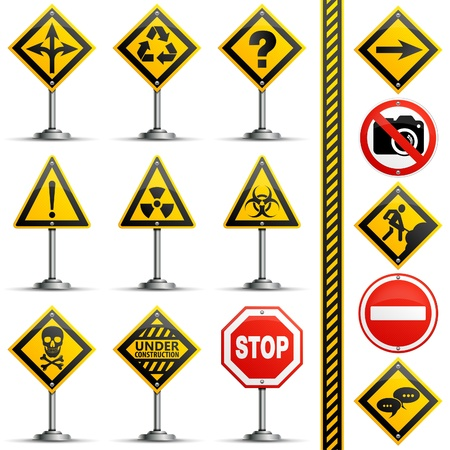 Collection Road Signs on a Pole, isolated on white background Vector