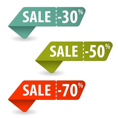 etiquetas redondas: Recoger muestras de la venta con Tear-off Cup�n Vectores