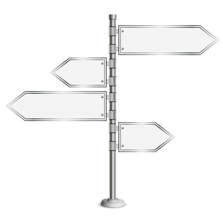Pólo com sinais de estrada em branco, escolha conceito decisão, isolado no fundo branco