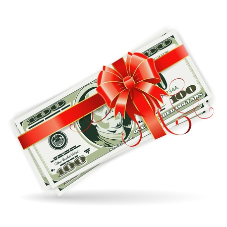 win money: Concept - Success in Business. Gift of Dollar Bills with a Ribbon and Bow, isolated