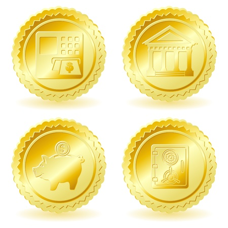 collect: Collect Gold Sticker with Business Icons, isolated on white