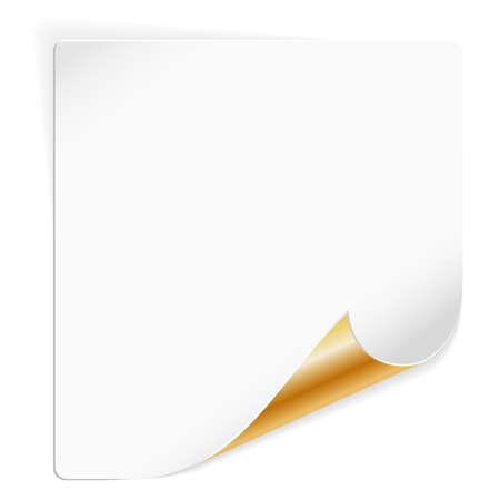 curled edges: Foglio di carta bianco con oro angolo curvo