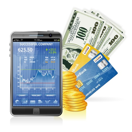 Financial Concept  Make Money on the Internet with Mobile Smart Phone (Stock Market Application), Dollar Bills, Credit Cards and Coins Vector