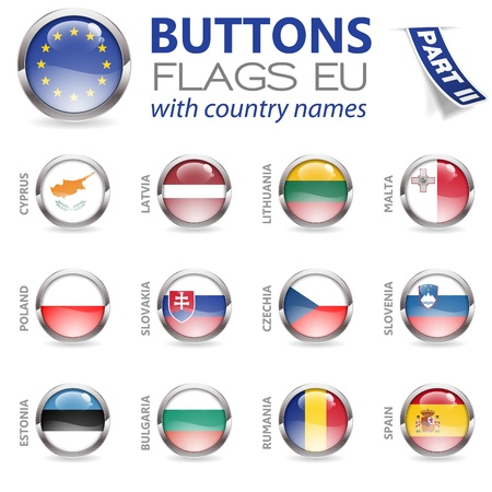 czechia: Three Dimensional Buttons with Country Flags for European Union (EU)