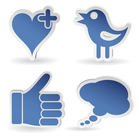 media love: Set Social Media Sticker with Like, Speech Bubble, Heart and Bird Icon, isolated Illustration