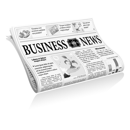 folded hands: Folded Newspaper Business News with Articles and Graph, isolated on white background, Illustration