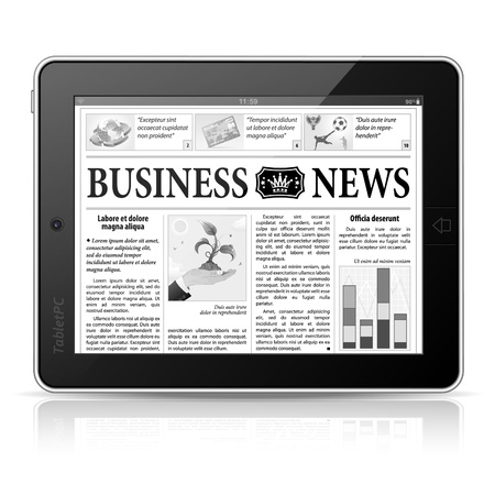 digital news: Digital News Concept with Business Newspaper on screen Tablet PC, Illustration