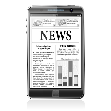 digital news: Digital News Concept with Business Newspaper on screen Smart Phone, Illustration