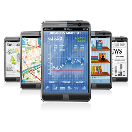 Collect Smartphones with Stock Market Application, Business News, GPS Navigation and Reading Books Application Vector