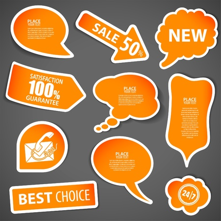 tweet balloon: Set of speech and thought bubbles, element for design, vector illustration Illustration