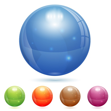 glass ball: 3D Glass Marble Ball in Different Colors, isolated on white, vector