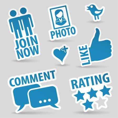 Impostare Social Media con Adesivi Come, Fumetto, cuore, come, Join e Bird Icon, vettore isolato