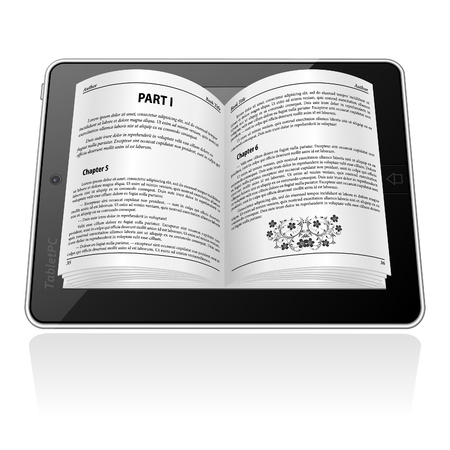 ebook reader: Open electronic book on Tablet Computer, E-book Concept, isolated on white, vector illustration Illustration