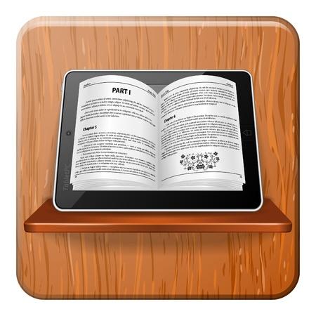 ebook reader: Open electronic book on Tablet Computer on Bookshelf, E-book Concept, vector illustration Illustration
