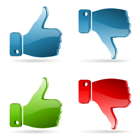 dislike: Set Social Media Sticker with Like and Unlike Icon, isolated on white, vector
