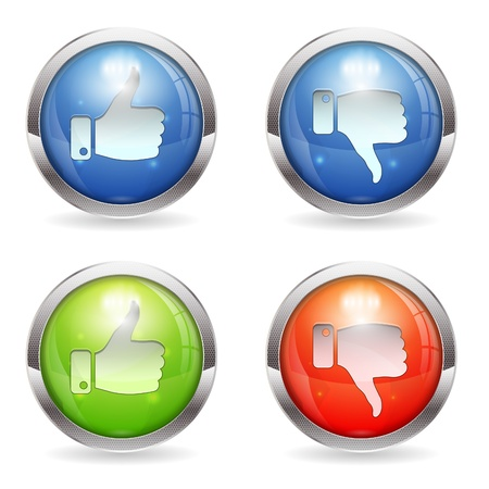 unlike: Set three dimensional round button with Like & Unlike icon, Easily Change the Color, isolated, vector