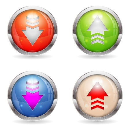 top pointer: Set three dimensional round Download and Upload button with Arrow icon, isolated on white, vector