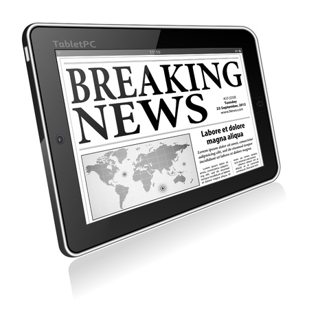 breaking news: Digital Breaking News Concept with Business Newspaper on screen Tablet PC, vector Illustration
