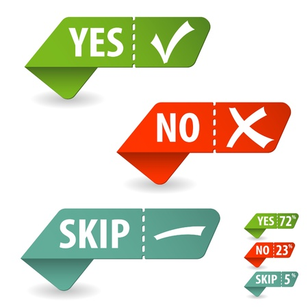 no label: Collect Sticker with Yes, No and Skip Check Mark, isolated on white, vector illustration
