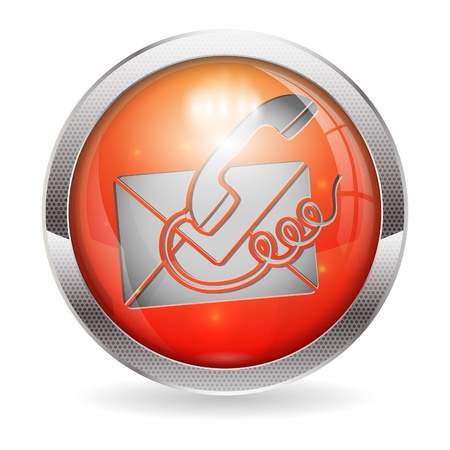 3D Circle Button with Telephone and Envelope Icon Contact Us, vector illustration Stock Vector - 15405353